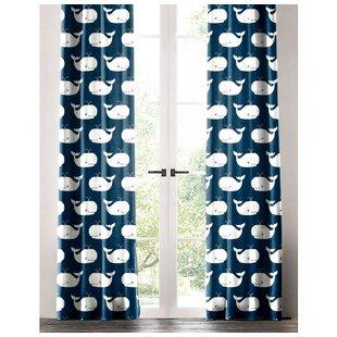 Delightful Jamaal Whale Tale Wildlife Single Curtain Panel