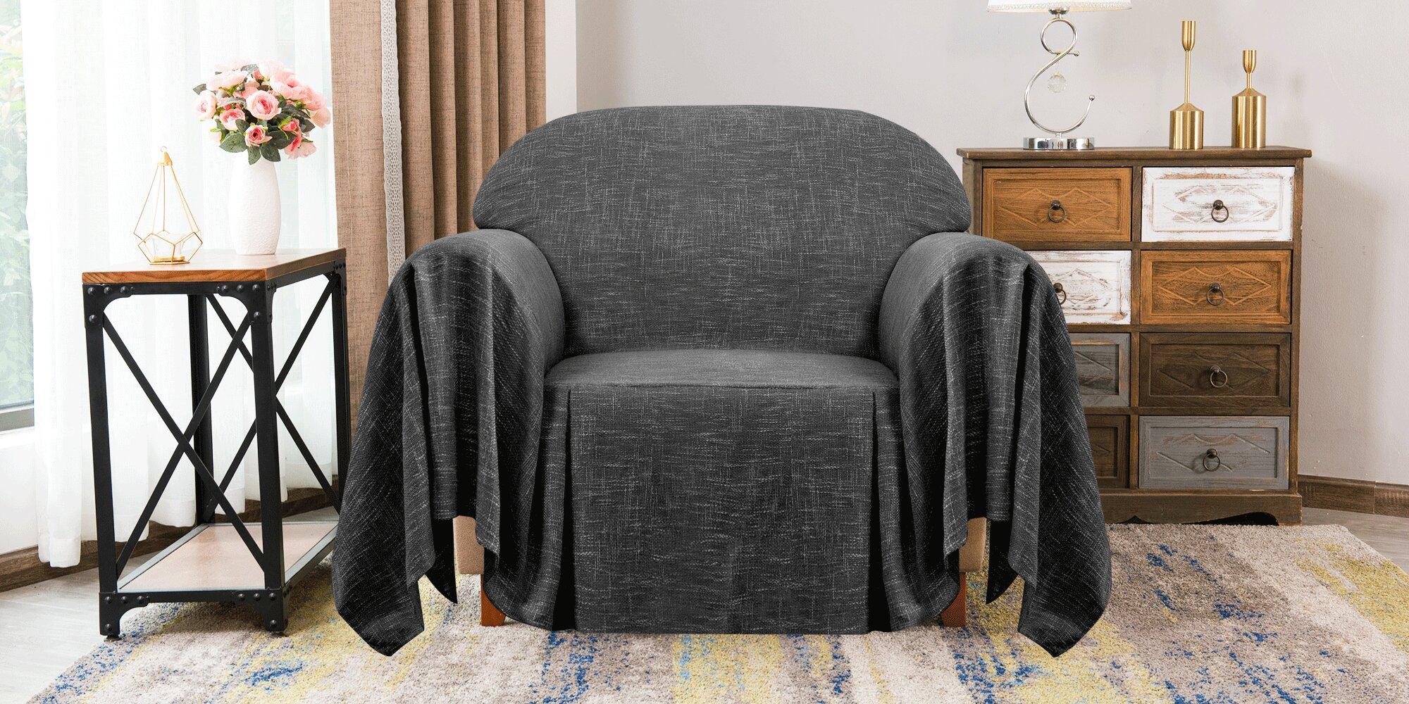 Ruffle Linen Towel Box Cushion Armchair Slipcover