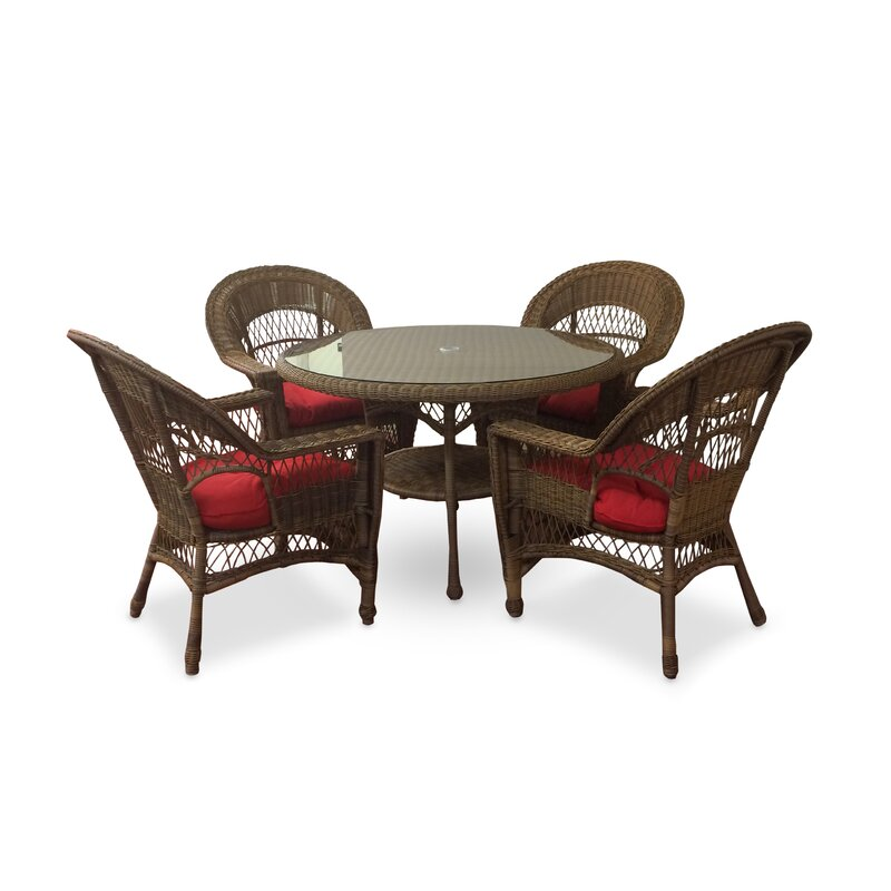 August Grove Camacho 5 Piece Dining Set with Cushions
