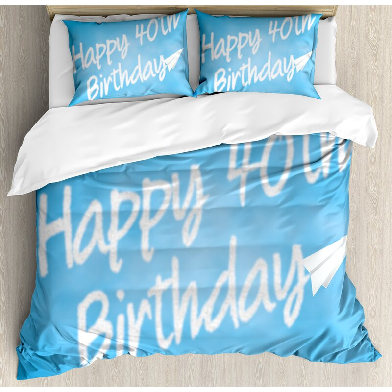 40th Birthday Decorations Celebration Theme Clouds In Sky And Paper Plane Flying Print Duvet Set