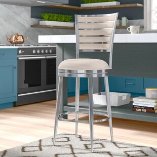 Lelia 30 Swivel Bar Stool with Cushion Latitude Run