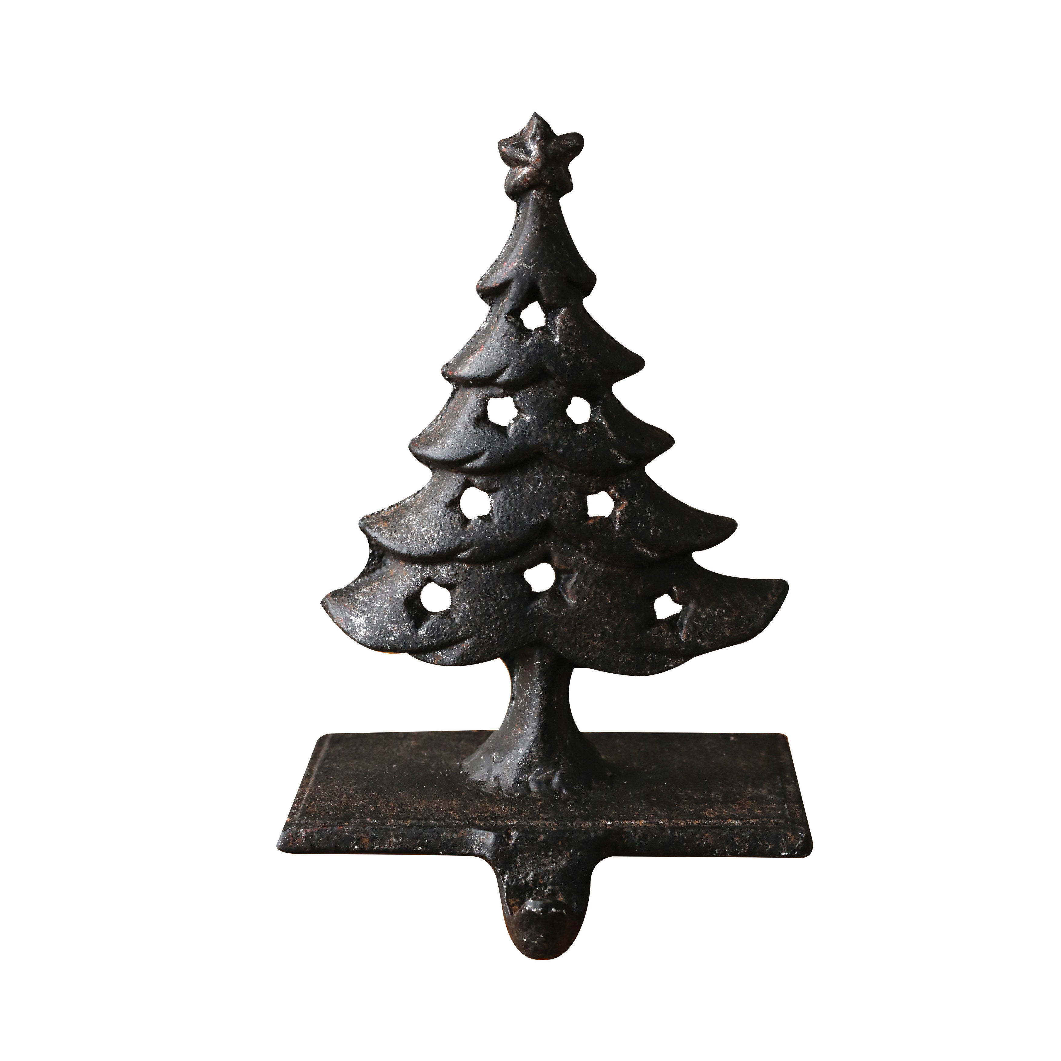 The Holiday Aisle Cashion Cast Iron Stocking Holder with Tree and ...