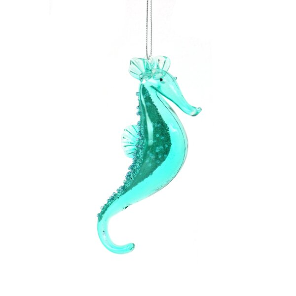 The Holiday Aisle Teal Translucent Seahorse With Glitter Hanging Figurine Ornament