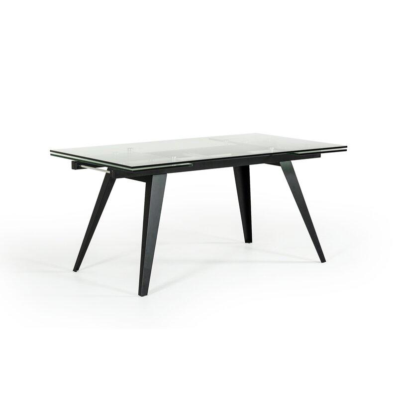 Orren Ellis Clower Contemporary Extendable Glass Top Dining Table