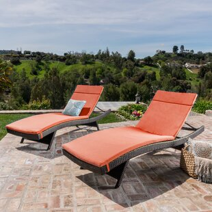 Hans Cagliari Wicker Chaise Lounge With Cushion (Set Of 2) by Brayden Studio 2019 Sale
