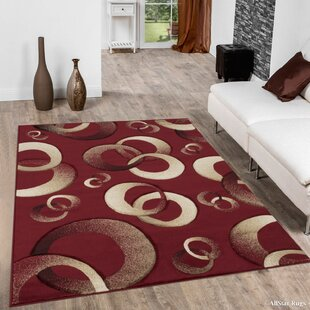 Circles Red Area Rug