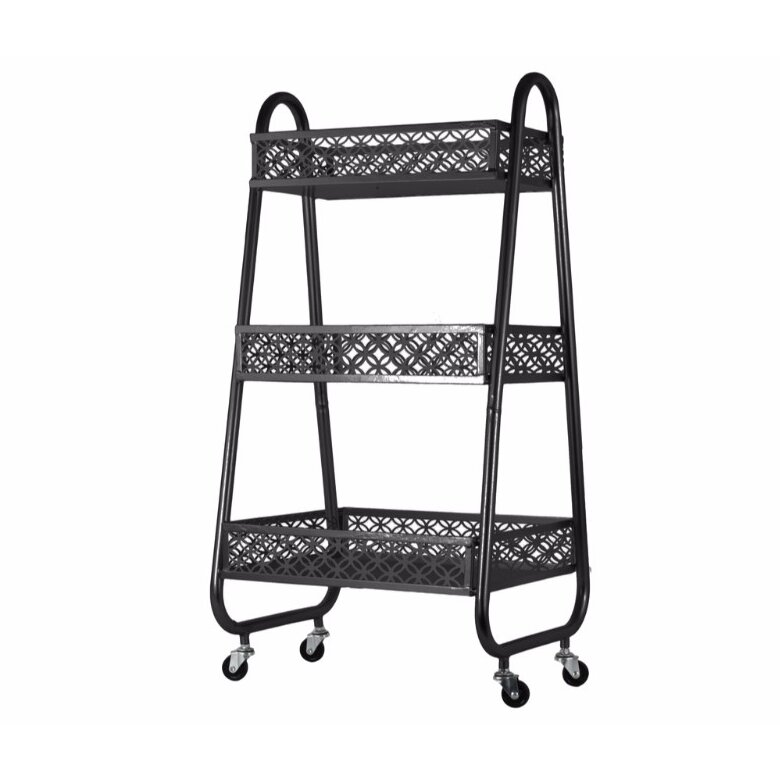 Bar Cart with 3 Parabolic Diamond Design and Pierced Metal Bins By Rebrilliant