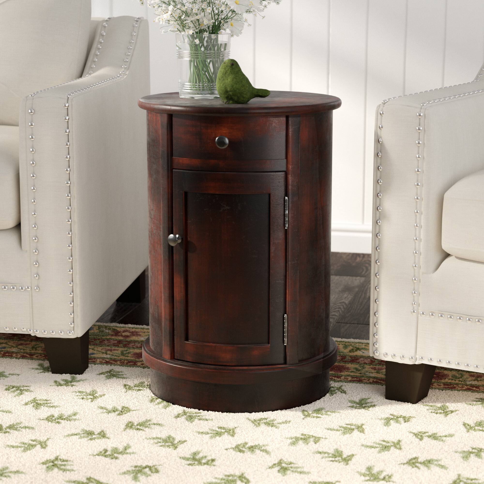Monica Drum End Table with Storage