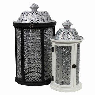 2 Piece Metal /Wood Lantern Set by Bloomsbury Market