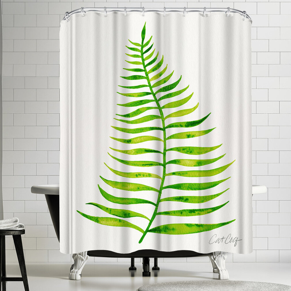East Urban Home Palm Leaf Lime Shower Curtain