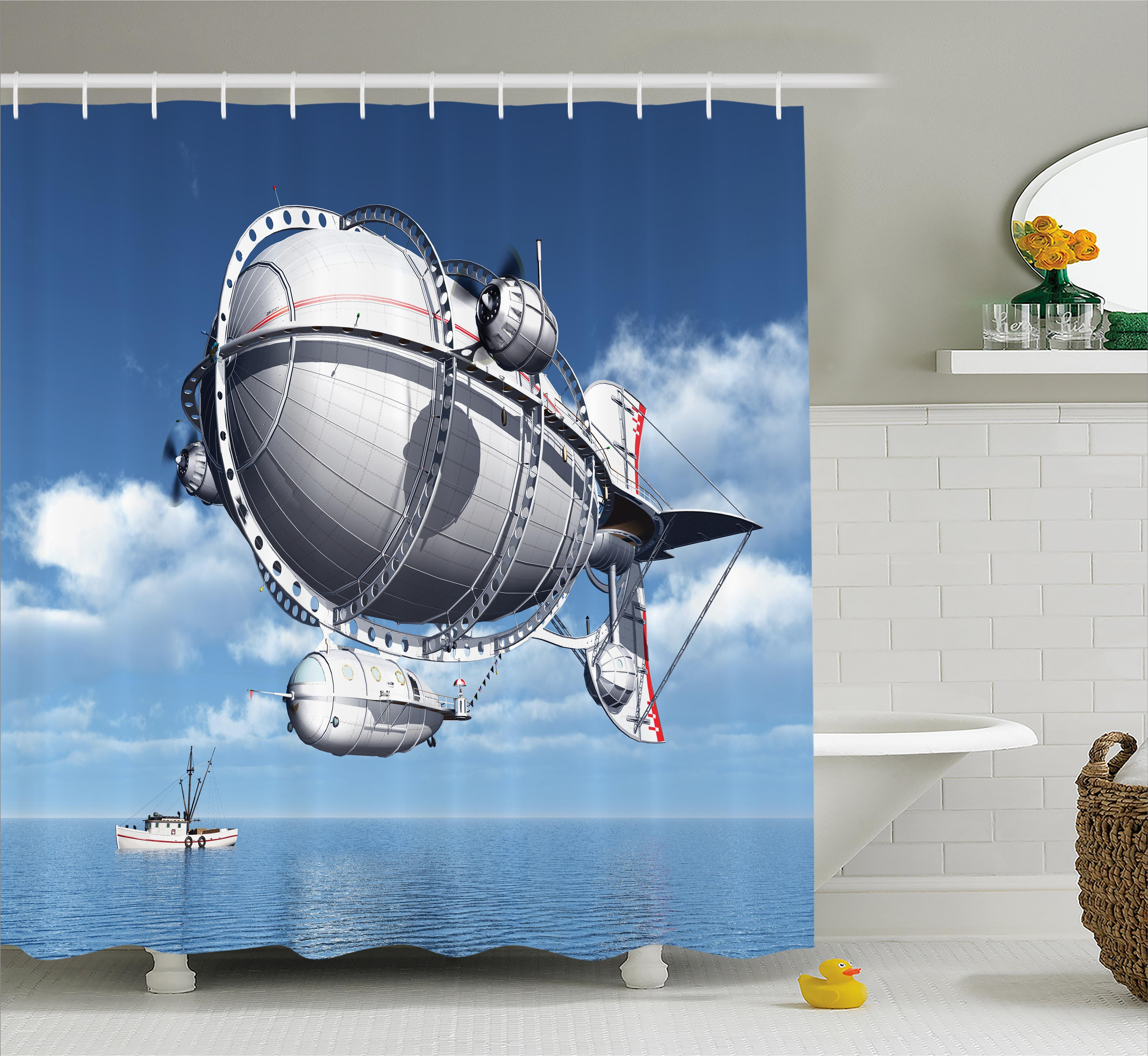 East Urban Home Aviation Sea Flying Cloudy Sky Shower Curtain