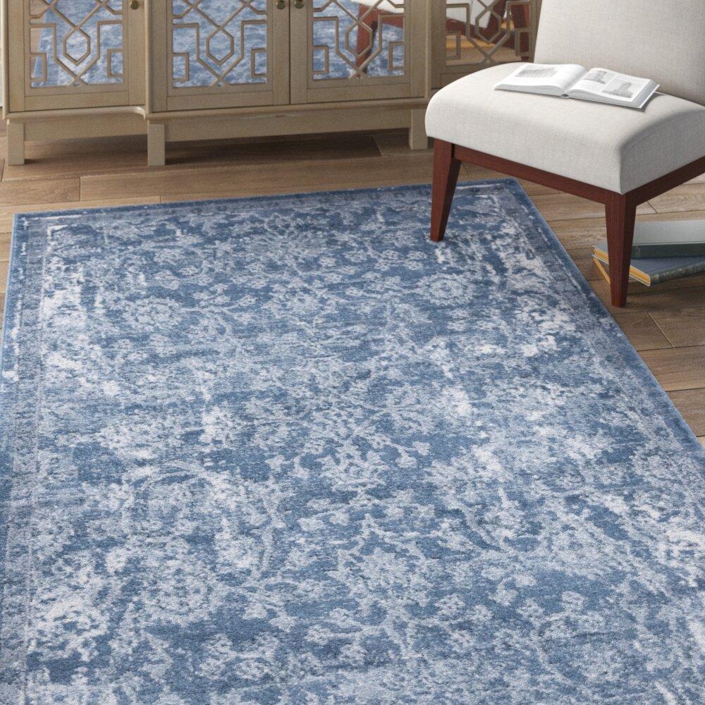 Bungalow Rose Stancliff Oriental Blue Area Rug Reviews Wayfair
