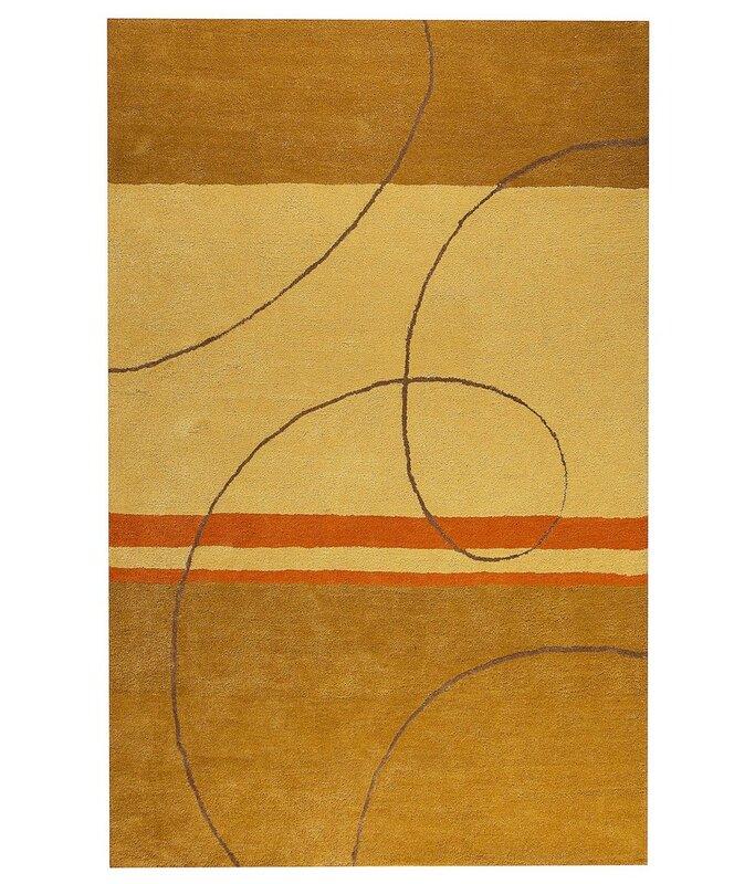 Orren Ellis Conrado Abstract Hand Tufted Gold Beige Rug Wayfair