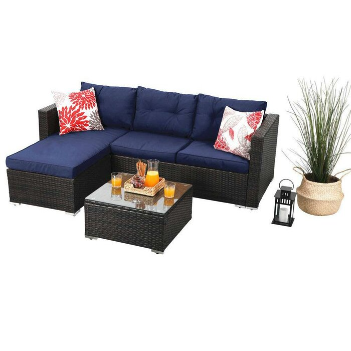Amazing Steward Outdoor 3 Piece Rattan Sectional Sofa Set With Cushions Inzonedesignstudio Interior Chair Design Inzonedesignstudiocom