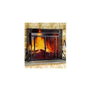 Glass/Steel Fireplace Screen