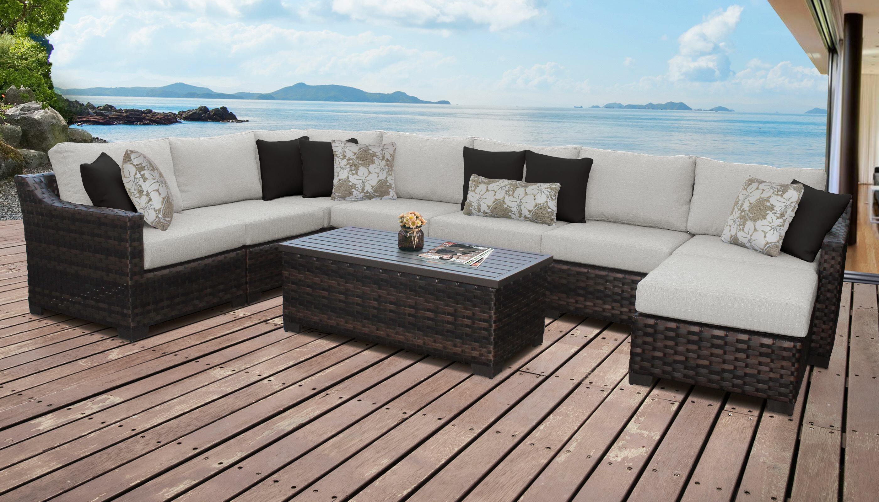 Kathy Ireland Homes Gardens By Tk Clics River Brook 9 Piece Outdoor Wicker Patio Furniture Set 09d Wayfair