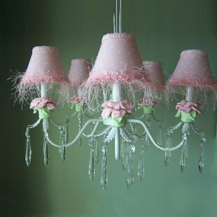 Silly Bear Lighting Baby Pink Flower 5-Light Shaded Chandelier