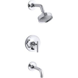 Kohler Purist Rite-Temp Pressure-Balancing Bath and Shower Faucet Trim with Push-Button Diverter, 7-3/4