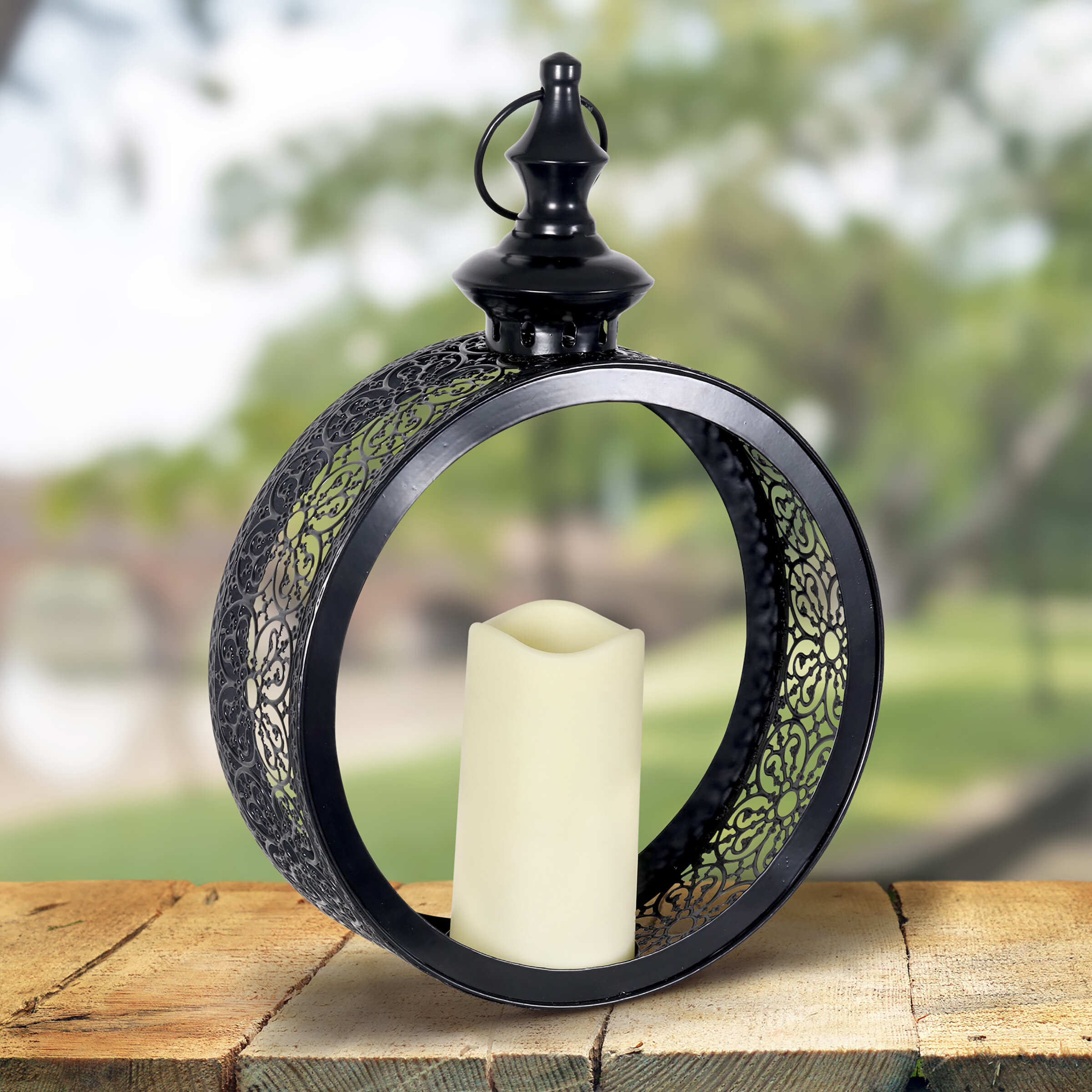 Exhart Hanging Bronze Battery Powered Led Outdoor Hanging Light With Electric Candle Wayfair