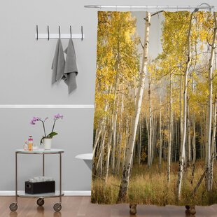 Deny Designs Bird Wanna Whistle Golden Aspen Extra Long Shower Curtain