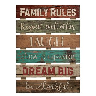 Skid Sign Family Rules Wall Décor