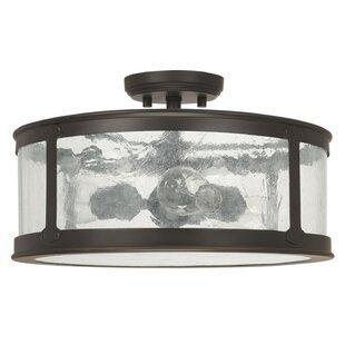Gracie Oaks Calvin 3-Light Old Bronze Semi-Flush Mount