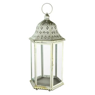 Metal and Glass Lantern By Highland Dunes Outdoor Lighting