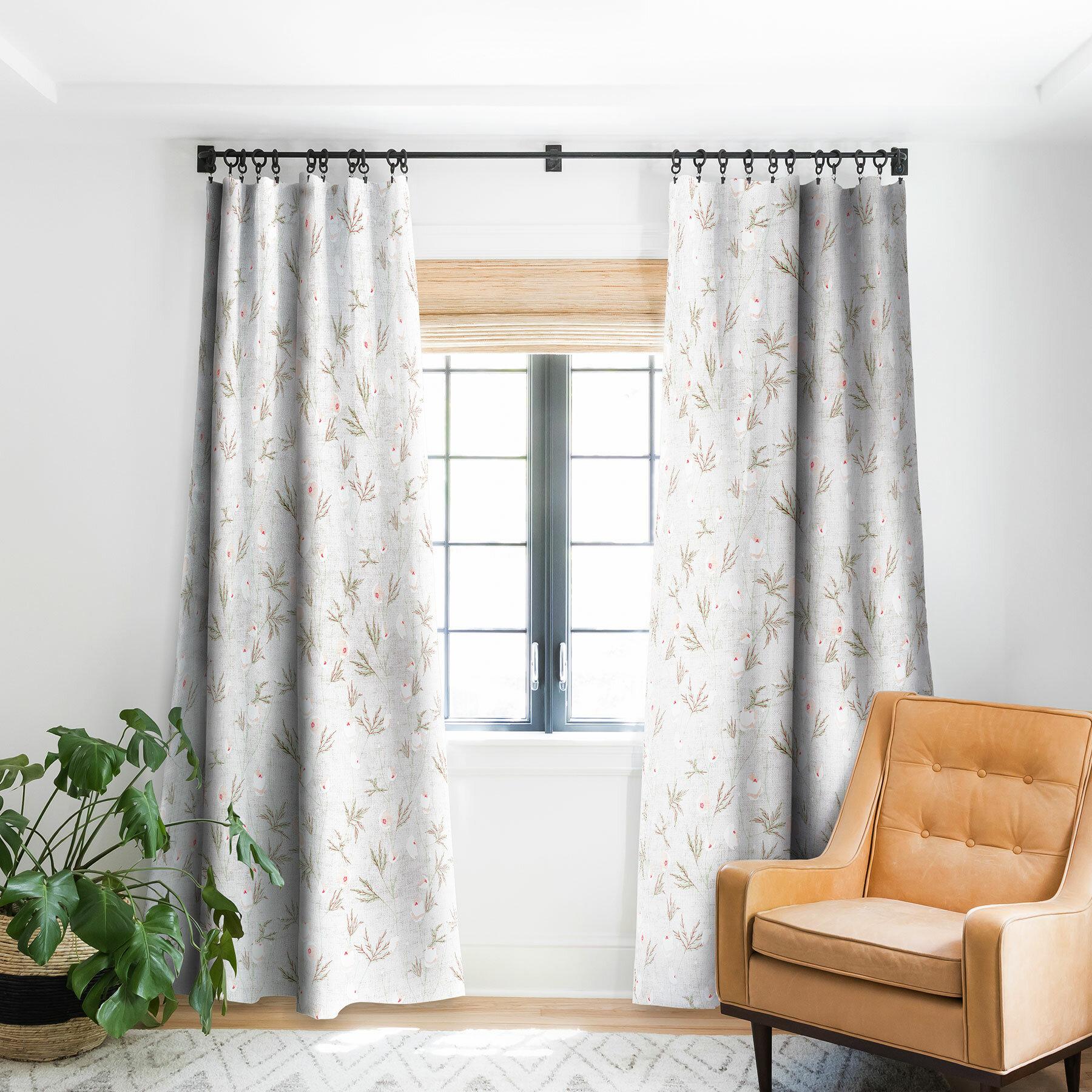 East Urban Home Holli Zollinger French Linen Anemone Light Floral Flower Blackout Pinch Pleat Single Curtain Panel Wayfair