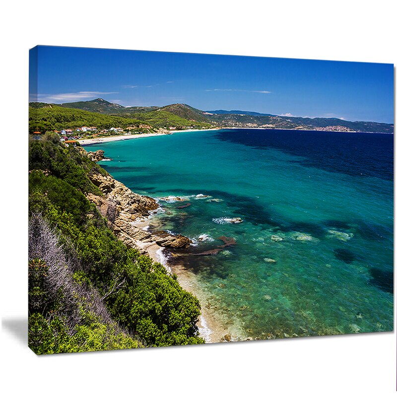 Designart Beautiful Greek Beach Of Sea Photographic Print On Wrapped Canvas Wayfair