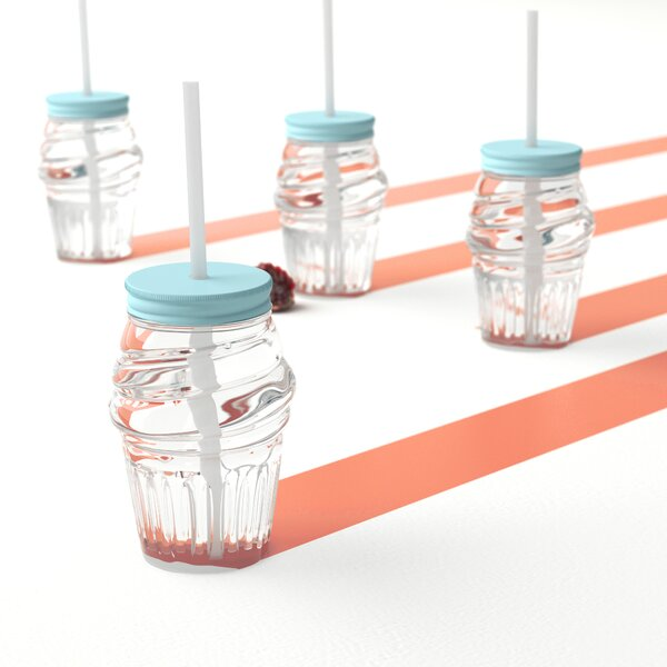 9 Piece Kilner Glass Preserving Drink Beverage Mugs Straws Recipe Book /& Lid Set