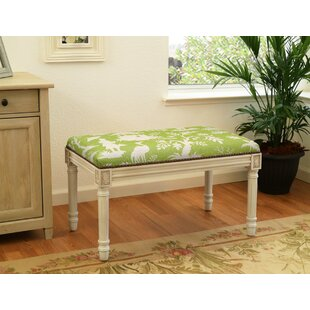 123 Creations Floral Upholstered and Wood Bench