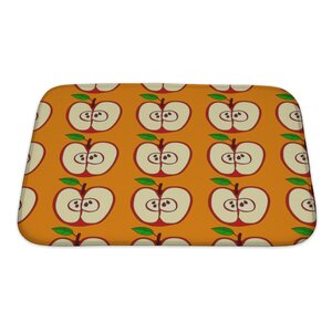 Fruit with Apples and Leaves Isolated Bath Rug