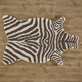 Zebra Stripe Hand Tufted Faux Cowhide Ivory Brown Area Rug