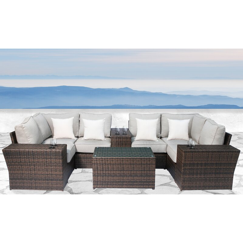 Sol 72 Outdoor Widener 10 Piece Sectional Seating Group with Cushions