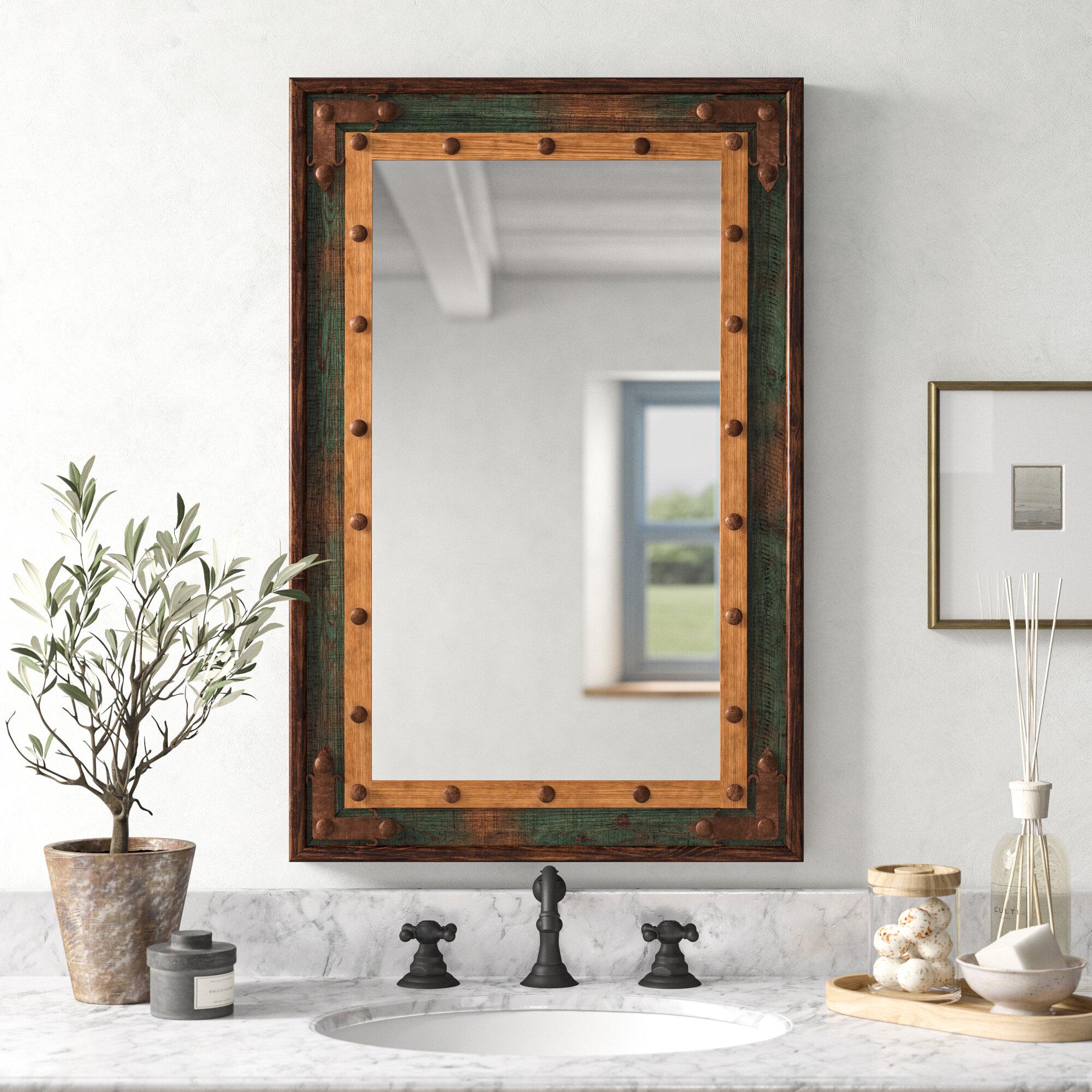 Millwood Pines Adrushan Rustic Distressed Bathroom Vanity Mirror Reviews Wayfair