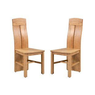 Kiazolu Solid Wood Dining Chair (Set of 2) Loon Peak