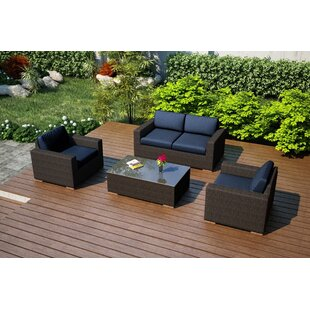 Hodge 4 Piece Teak Sofa Set with Sunbrella Cushions