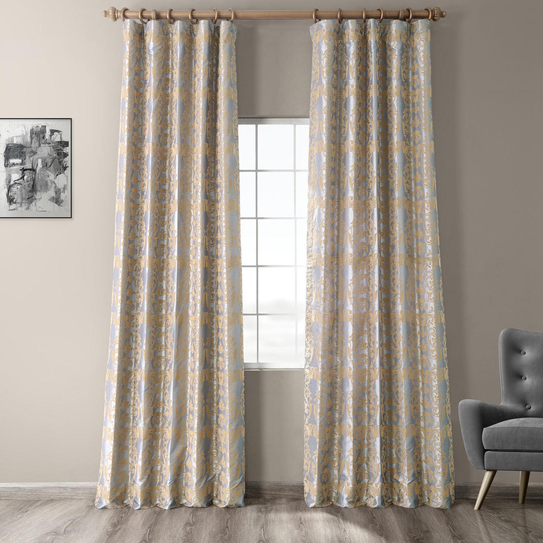 House Of Hampton Hervey Firenze Fern Flocked Faux Silk Damask Room Darkening Thermal Rod Pocket Single Curtain Panel Reviews Wayfair