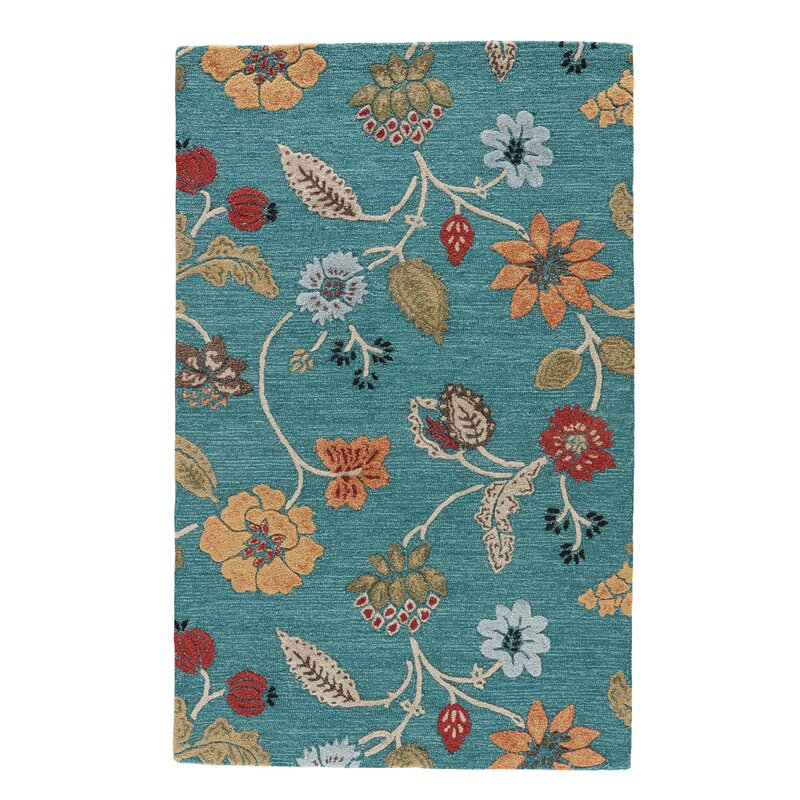 Alcott Hill Silver Creek Hand-Woven Blue/Red Area Rug, Size: Rectangle 8 x 10