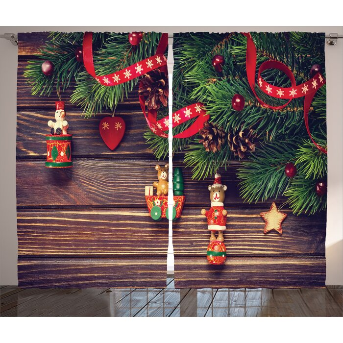 Jesus Christmas Decorations.Christmas Decorations Rustic Wood Backdrop December Old Christmas Time Theme Jesus Ribbon Graphic Print Text Semi Sheer Rod Pocket Curtain Panels