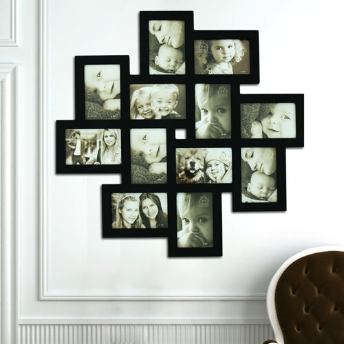12 Opening Decorative Wood Photo Collage Wall Hanging Picture Frame