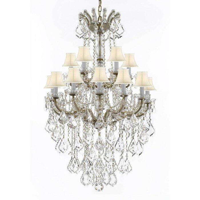 Astoria grand alvarado 18 light bell fabric shade crystal chandelier alvarado 18 light bell fabric shade crystal chandelier aloadofball Images