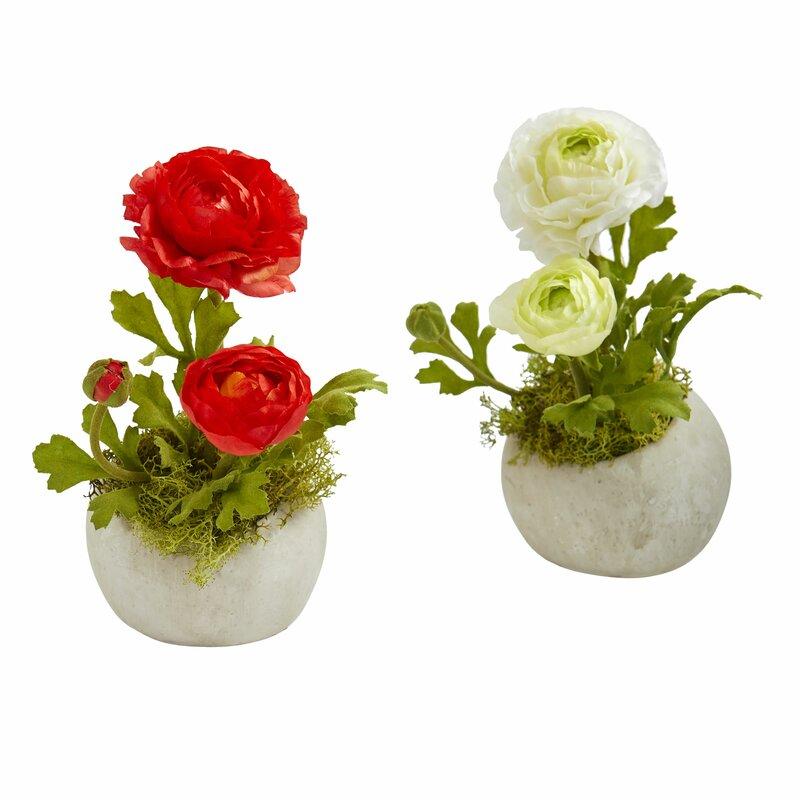 House Of Hampton Artificial Ranunculus Floral Arrangement In Pot Wayfair