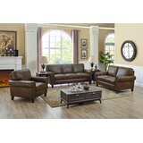 Gipe Calssrc 3 Piece Genuine Leather Living Room Set by Canora Grey