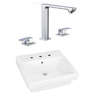 Read Reviews Ceramic Rectangular Drop-In Bathroom Sink with Faucet By American Imaginations