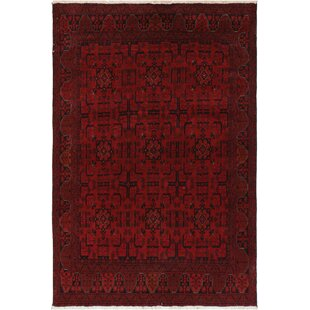Great deal One-of-a-Kind Cremeans Hand-Knotted 4'11 x 6'4 Wool Red/Black Area Rug By Isabelline