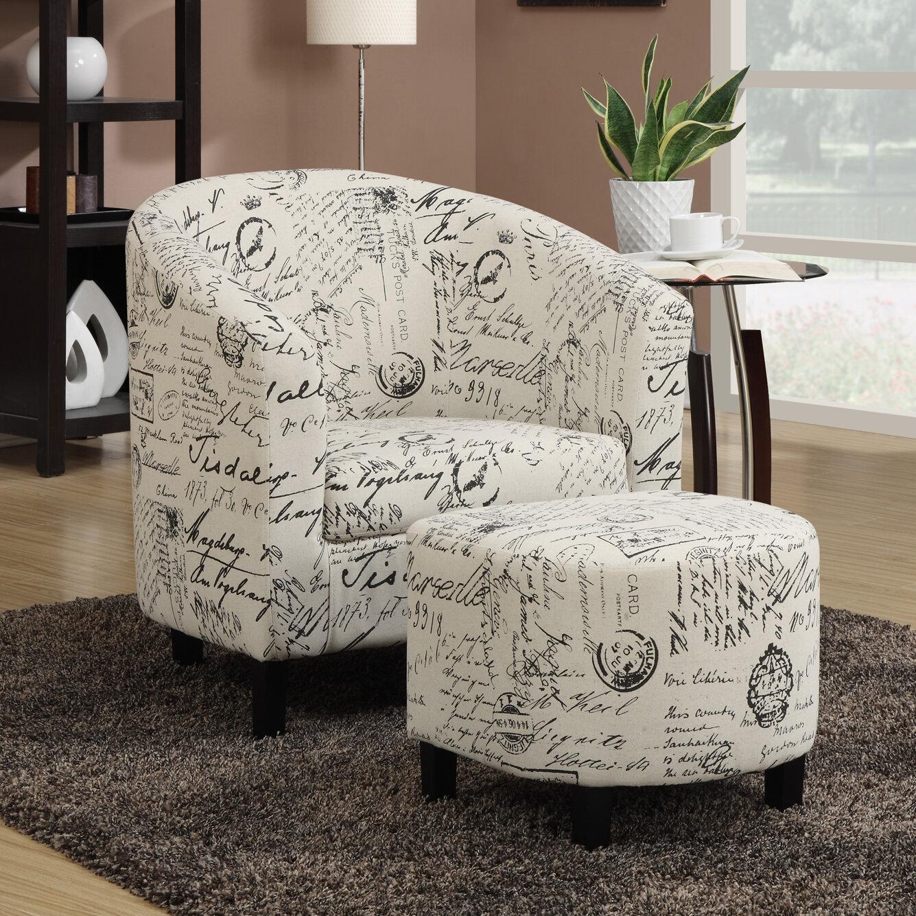 Emory Barrel Chair With Ottoman Reviews Birch Lane