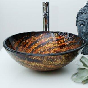 Bargain Glass Circular Vessel Bathroom Sink By Arsumo