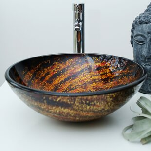 Glass Circular Vessel Bathroom Sink Arsumo