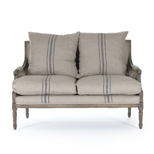 Shop Bodil Khaki Linen Loveseat by One Allium Way